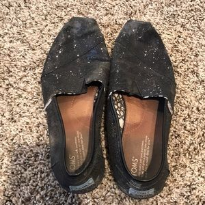 Black glitter Toms size 9.5
